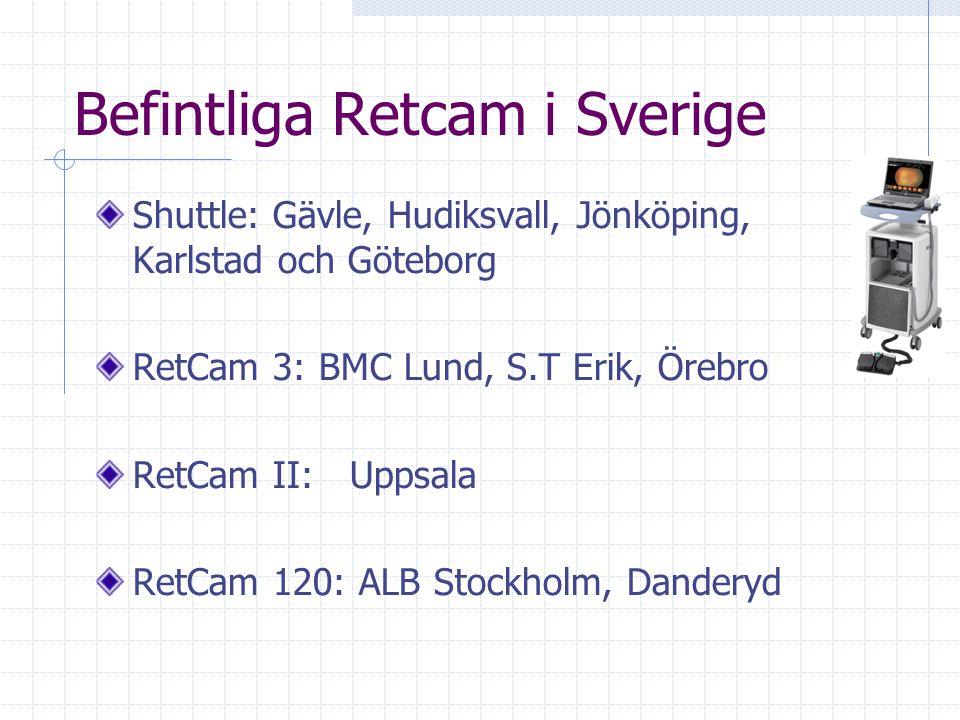 Befintliga Retcam i Sverige Shuttle: Gävle, Hudiksvall, Jönköping, Karlstad och Göteborg RetCam 3: BMC Lund, S.T Erik, Örebro RetCam II: Uppsala RetCa