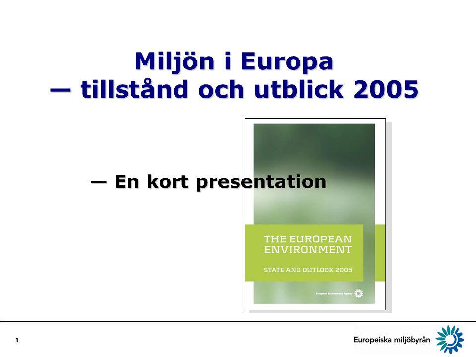 12 Vad vi kan göra Utforma långsiktiga, sammanhängande stategier som leder in marknaden mot hållbar produktion och konsumtion Inom alla sektorer sträva efter bredare och integrerade styrmedel för marknaden, som förenar hållbarhetsmålen — miljöskatter och bidragsreformer Stärka offentliga och privata sektorernas satsning på forskning och utveckling på miljöområdet så att Europa kan konkurrera globalt Förbättra institutionella strukturer för att utforma och genomföra integrerade angreppssätt; sådana strukturer kan vara lika viktiga som strategierna i sig