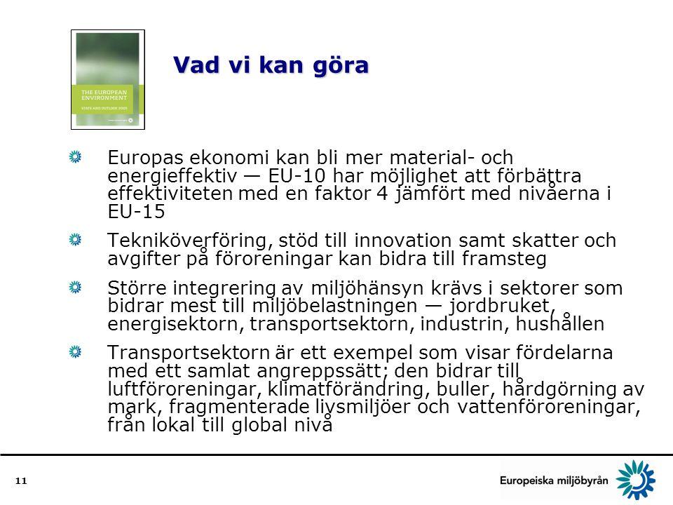 11 Vad vi kan göra Vad vi kan göra Europas ekonomi kan bli mer material- och energieffektiv — EU-10 har möjlighet att förbättra effektiviteten med en faktor 4 jämfört med nivåerna i EU-15 Tekniköverföring, stöd till innovation samt skatter och avgifter på föroreningar kan bidra till framsteg Större integrering av miljöhänsyn krävs i sektorer som bidrar mest till miljöbelastningen — jordbruket, energisektorn, transportsektorn, industrin, hushållen Transportsektorn är ett exempel som visar fördelarna med ett samlat angreppssätt; den bidrar till luftföroreningar, klimatförändring, buller, hårdgörning av mark, fragmenterade livsmiljöer och vattenföroreningar, från lokal till global nivå