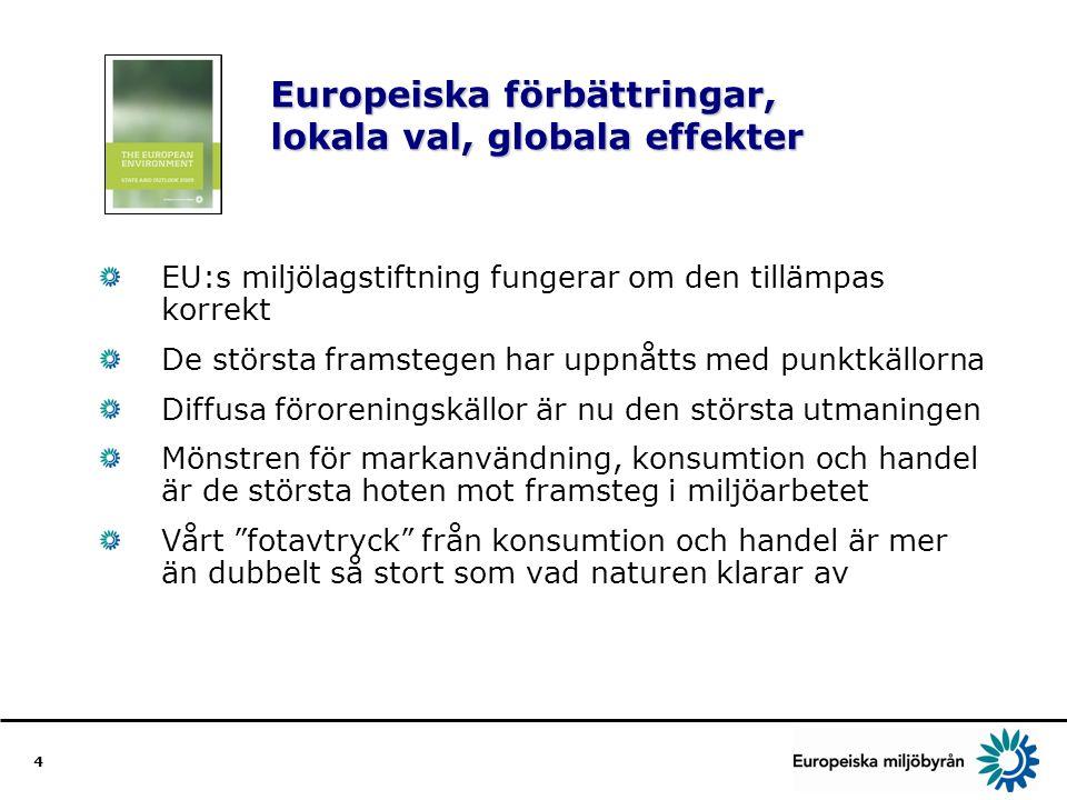 4 Europeiska förbättringar, lokala val, globala effekter EU:s miljölagstiftning fungerar om den tillämpas korrekt De största framstegen har uppnåtts med punktkällorna Diffusa föroreningskällor är nu den största utmaningen Mönstren för markanvändning, konsumtion och handel är de största hoten mot framsteg i miljöarbetet Vårt fotavtryck från konsumtion och handel är mer än dubbelt så stort som vad naturen klarar av