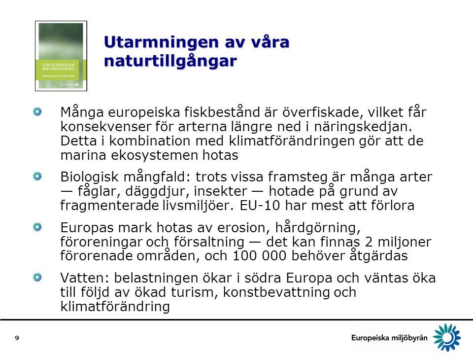 9 Utarmningen av våra naturtillgångar Många europeiska fiskbestånd är överfiskade, vilket får konsekvenser för arterna längre ned i näringskedjan.