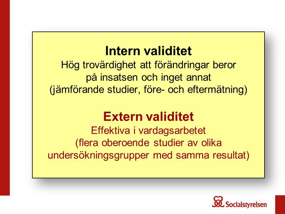 Intern validitet Hög trovärdighet att förändringar beror på insatsen och inget annat (jämförande studier, före- och eftermätning) Extern validitet Eff
