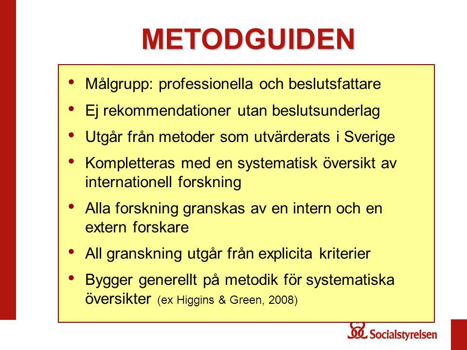 METODGUIDEN • Målgrupp: professionella och beslutsfattare • Ej rekommendationer utan beslutsunderlag • Utgår från metoder som utvärderats i Sverige •