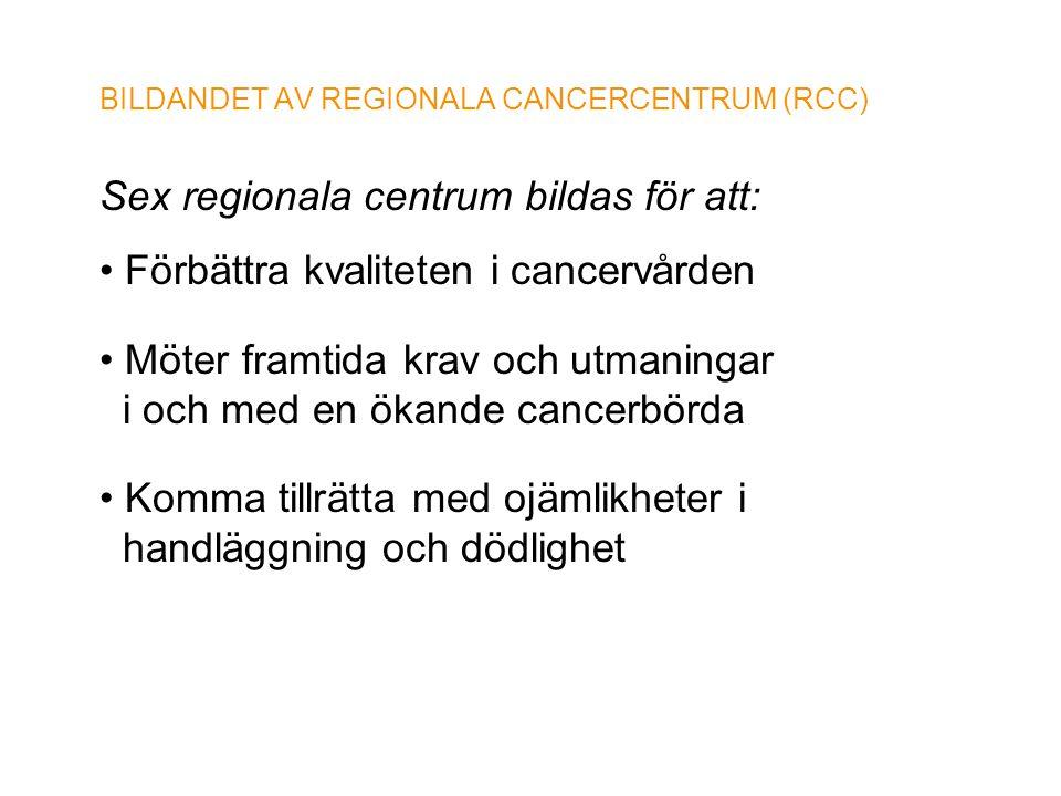BILDANDET AV REGIONALA CANCERCENTRUM (RCC) Sex regionala centrum bildas för att: • Förbättra kvaliteten i cancervården • Möter framtida krav och utman