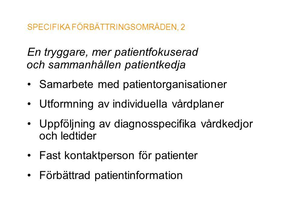 SPECIFIKA FÖRBÄTTRINGSOMRÅDEN, 2 En tryggare, mer patientfokuserad och sammanhållen patientkedja • Samarbete med patientorganisationer • Utformning av