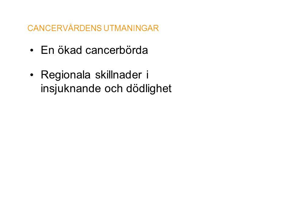 CANCERVÅRDENS UTMANINGAR • En ökad cancerbörda • Regionala skillnader i insjuknande och dödlighet
