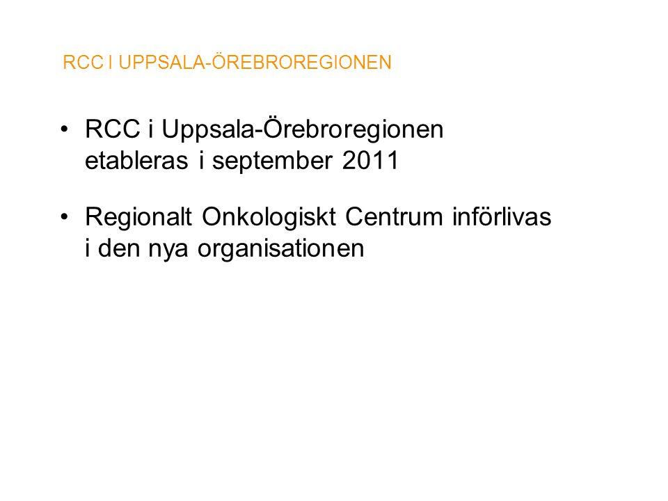 RCC I UPPSALA-ÖREBROREGIONEN •RCC i Uppsala-Örebroregionen etableras i september 2011 •Regionalt Onkologiskt Centrum införlivas i den nya organisation