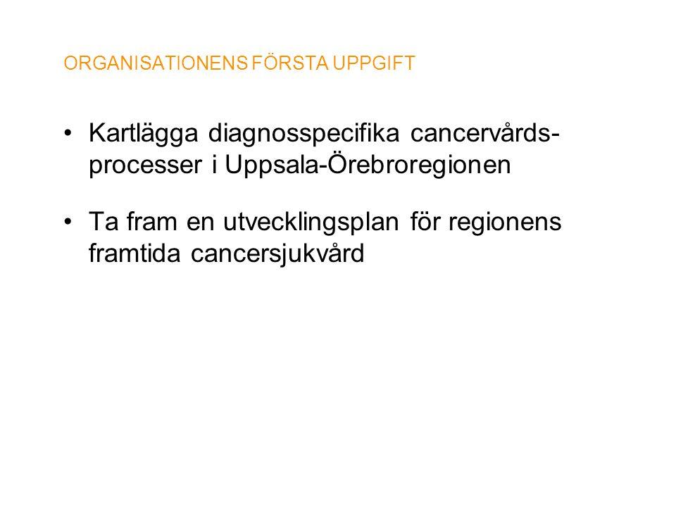 ORGANISATIONENS FÖRSTA UPPGIFT •Kartlägga diagnosspecifika cancervårds- processer i Uppsala-Örebroregionen •Ta fram en utvecklingsplan för regionens f