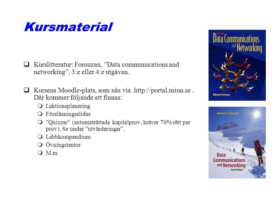 "Kursmaterial qKurslitteratur: Forouzan, ""Data communications and networking"", 3:e eller 4:e utgåvan. qKursens Moodle-plats, som nås via http://portal."