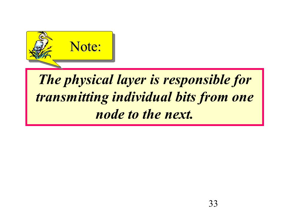 33 The physical layer is responsible for transmitting individual bits from one node to the next. Note: