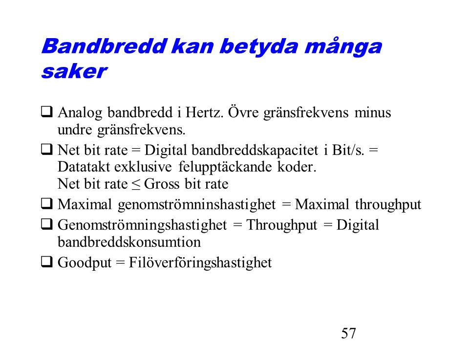 57 Bandbredd kan betyda många saker qAnalog bandbredd i Hertz. Övre gränsfrekvens minus undre gränsfrekvens. qNet bit rate = Digital bandbreddskapacit