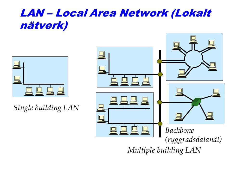 LAN – Local Area Network (Lokalt nätverk) Single building LAN Backbone (ryggradsdatanät) Multiple building LAN