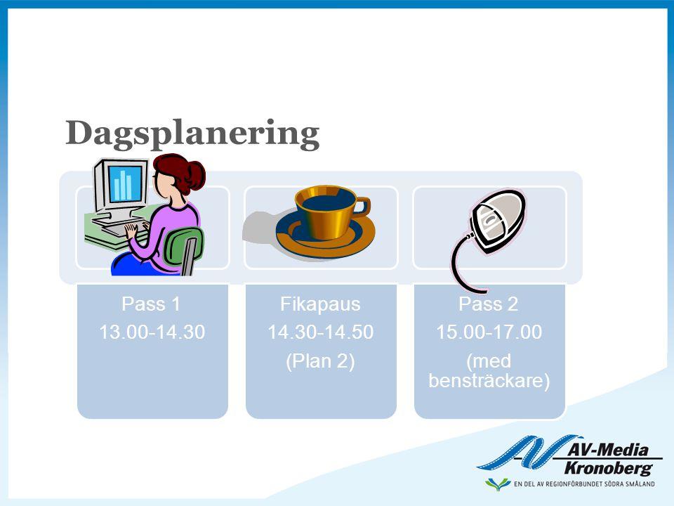 Dagsplanering Pass 1 13.00-14.30 Fikapaus 14.30-14.50 (Plan 2) Pass 2 15.00-17.00 (med bensträckare)