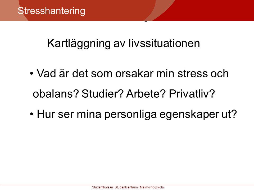 Större mångfald Stresshantering Studenthälsan | Studentcentrum | Malmö högskola • Vad är det som orsakar min stress och obalans.