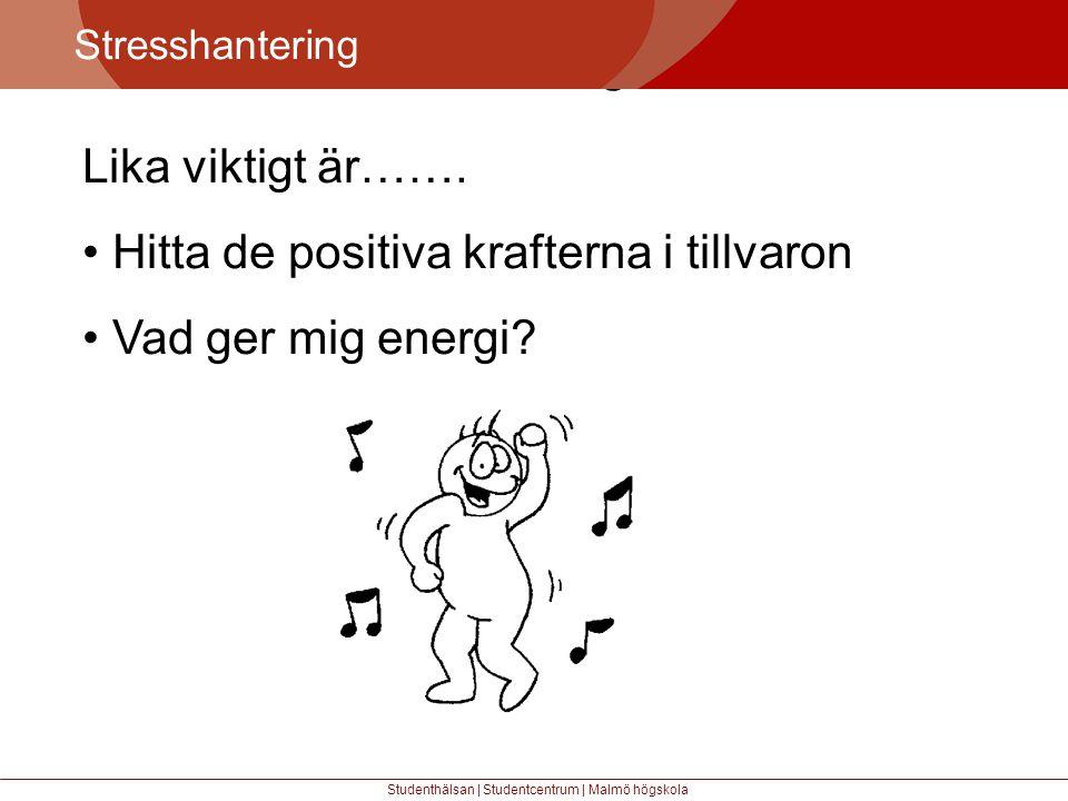 Större mångfald Stresshantering Studenthälsan | Studentcentrum | Malmö högskola Lika viktigt är…….