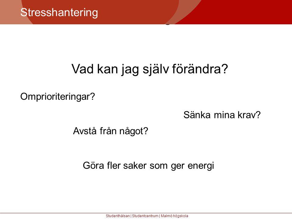 Större mångfald Stresshantering Studenthälsan | Studentcentrum | Malmö högskola Vad kan jag själv förändra.