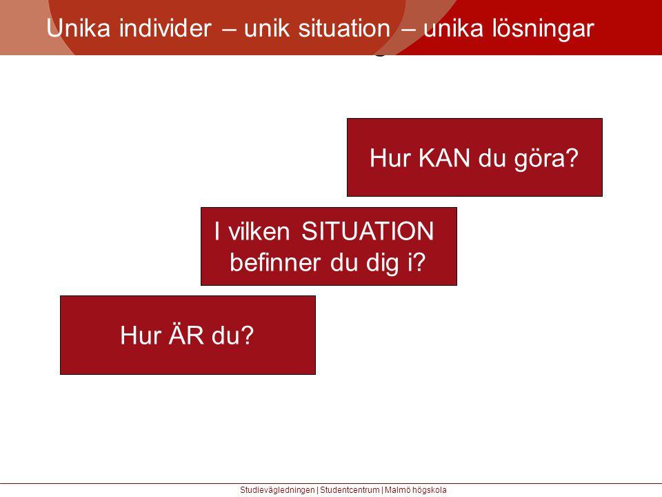 Större mångfald Unika individer – unik situation – unika lösningar Studievägledningen | Studentcentrum | Malmö högskola I vilken SITUATION befinner du dig i.