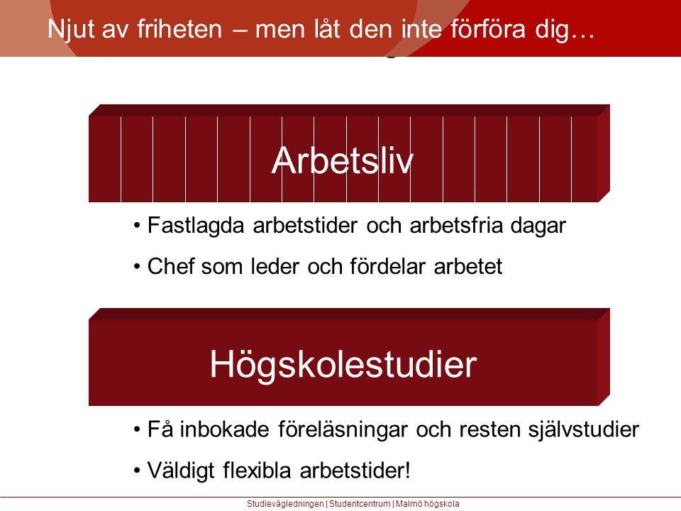 Större mångfald Njut av friheten – men låt den inte förföra dig… Studievägledningen | Studentcentrum | Malmö högskola Arbetsliv • Fastlagda arbetstider och arbetsfria dagar • Chef som leder och fördelar arbetet Högskolestudier • Få inbokade föreläsningar och resten självstudier • Väldigt flexibla arbetstider!