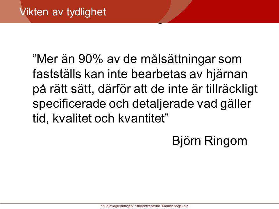 Större mångfald Vikten av tydlighet Studievägledningen | Studentcentrum | Malmö högskola Mer än 90% av de målsättningar som fastställs kan inte bearbetas av hjärnan på rätt sätt, därför att de inte är tillräckligt specificerade och detaljerade vad gäller tid, kvalitet och kvantitet Björn Ringom