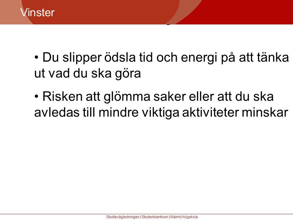 Större mångfald Vinster Studievägledningen | Studentcentrum | Malmö högskola • Du slipper ödsla tid och energi på att tänka ut vad du ska göra • Risken att glömma saker eller att du ska avledas till mindre viktiga aktiviteter minskar