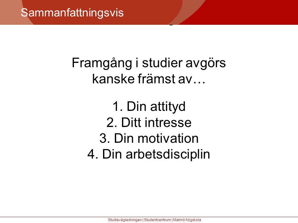 Större mångfald Sammanfattningsvis Studievägledningen | Studentcentrum | Malmö högskola Framgång i studier avgörs kanske främst av… 1.