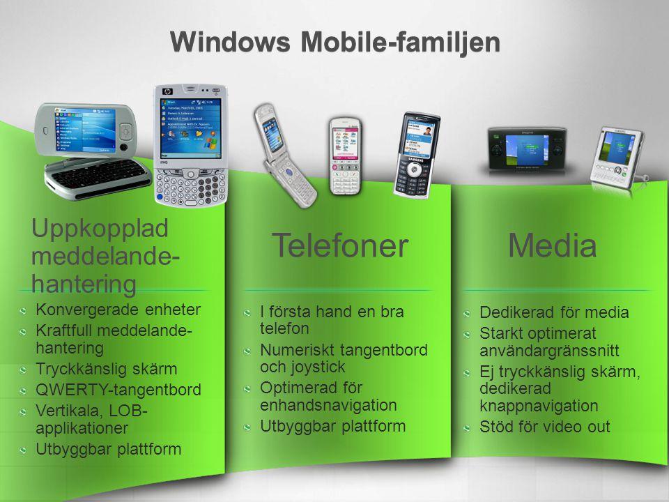 Windows Mobile-familjen Dedikerad för media Starkt optimerat användargränssnitt Ej tryckkänslig skärm, dedikerad knappnavigation Stöd för video out Konvergerade enheter Kraftfull meddelande- hantering Tryckkänslig skärm QWERTY-tangentbord Vertikala, LOB- applikationer Utbyggbar plattform I första hand en bra telefon Numeriskt tangentbord och joystick Optimerad för enhandsnavigation Utbyggbar plattform Uppkopplad meddelande- hantering TelefonerMedia