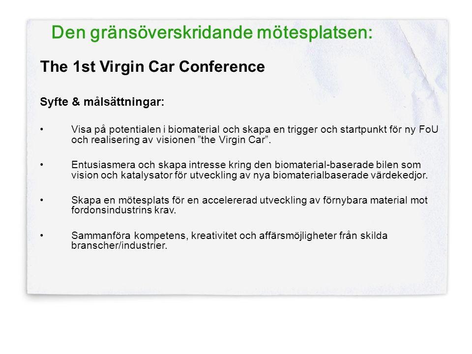 Den gränsöverskridande mötesplatsen: The 1st Virgin Car Conference Syfte & målsättningar: •Visa på potentialen i biomaterial och skapa en trigger och startpunkt för ny FoU och realisering av visionen the Virgin Car .