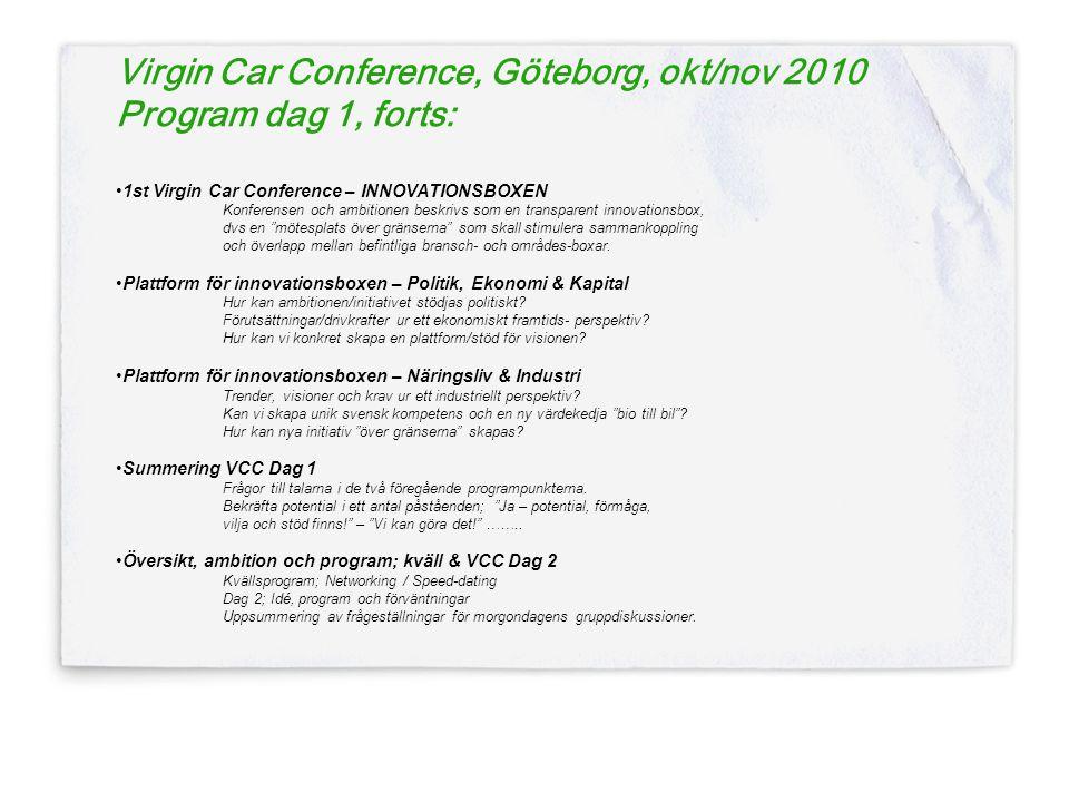 Virgin Car Conference, Göteborg, okt/nov 2010 Program dag 1, forts: •1st Virgin Car Conference – INNOVATIONSBOXEN Konferensen och ambitionen beskrivs som en transparent innovationsbox, dvs en mötesplats över gränserna som skall stimulera sammankoppling och överlapp mellan befintliga bransch- och områdes-boxar.