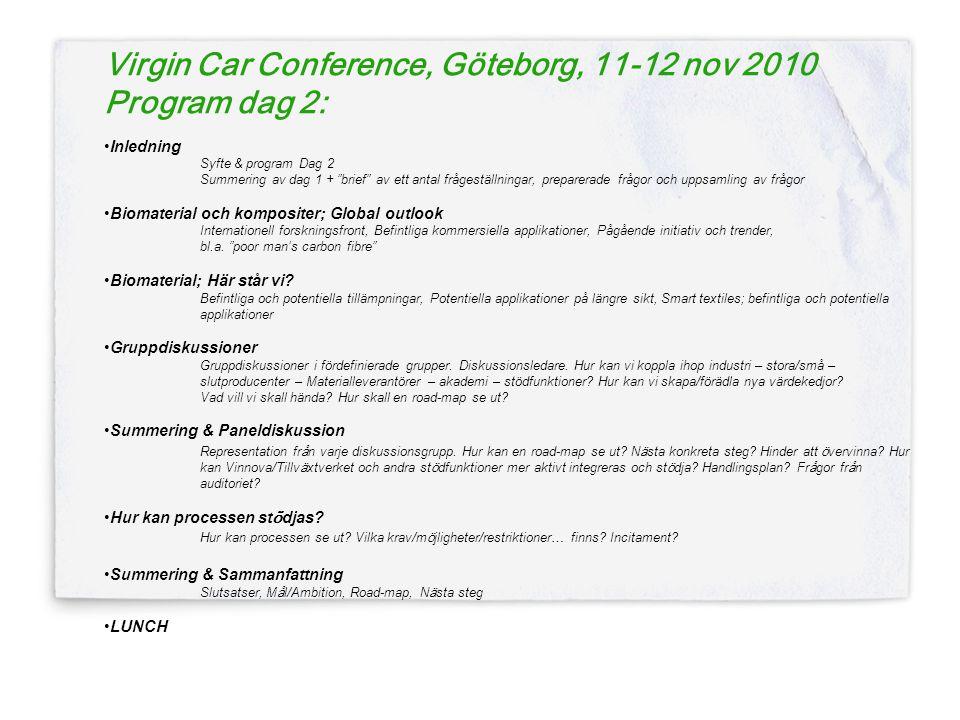 Virgin Car Conference, Göteborg, 11-12 nov 2010 Program dag 2: •Inledning Syfte & program Dag 2 Summering av dag 1 + brief av ett antal frågeställningar, preparerade frågor och uppsamling av frågor •Biomaterial och kompositer; Global outlook Internationell forskningsfront, Befintliga kommersiella applikationer, Pågående initiativ och trender, bl.a.