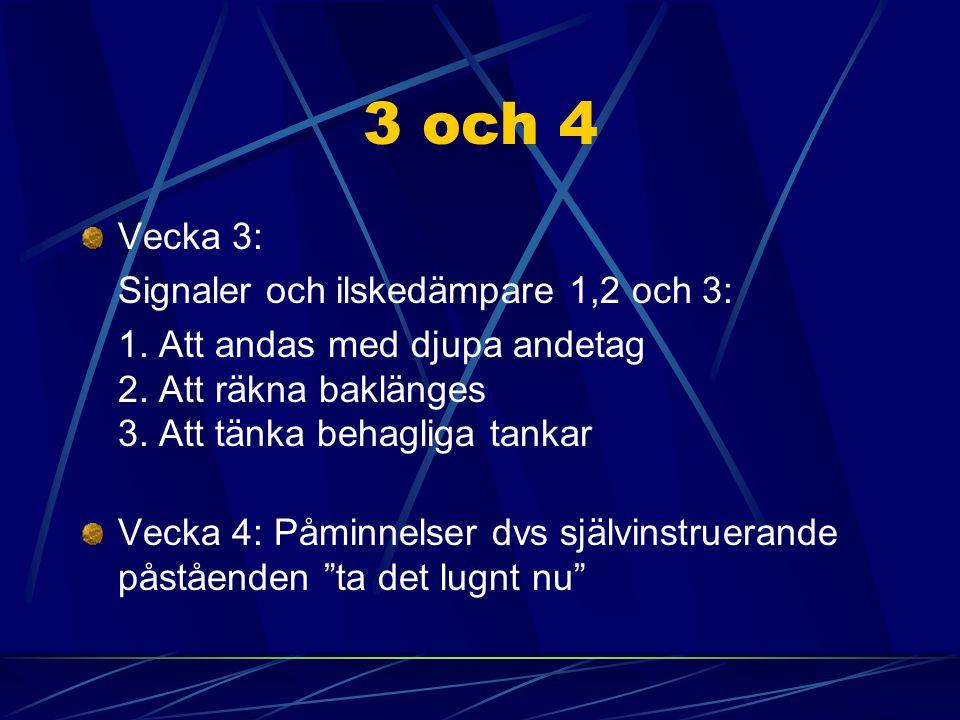 3 och 4 Vecka 3: Signaler och ilskedämpare 1,2 och 3: 1. Att andas med djupa andetag 2. Att räkna baklänges 3. Att tänka behagliga tankar Vecka 4: Påm