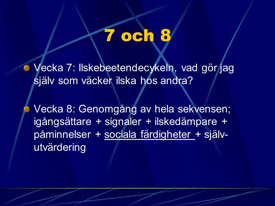 7 och 8 Vecka 7: Ilskebeetendecykeln, vad gör jag själv som väcker ilska hos andra? Vecka 8: Genomgång av hela sekvensen; igångsättare + signaler + il