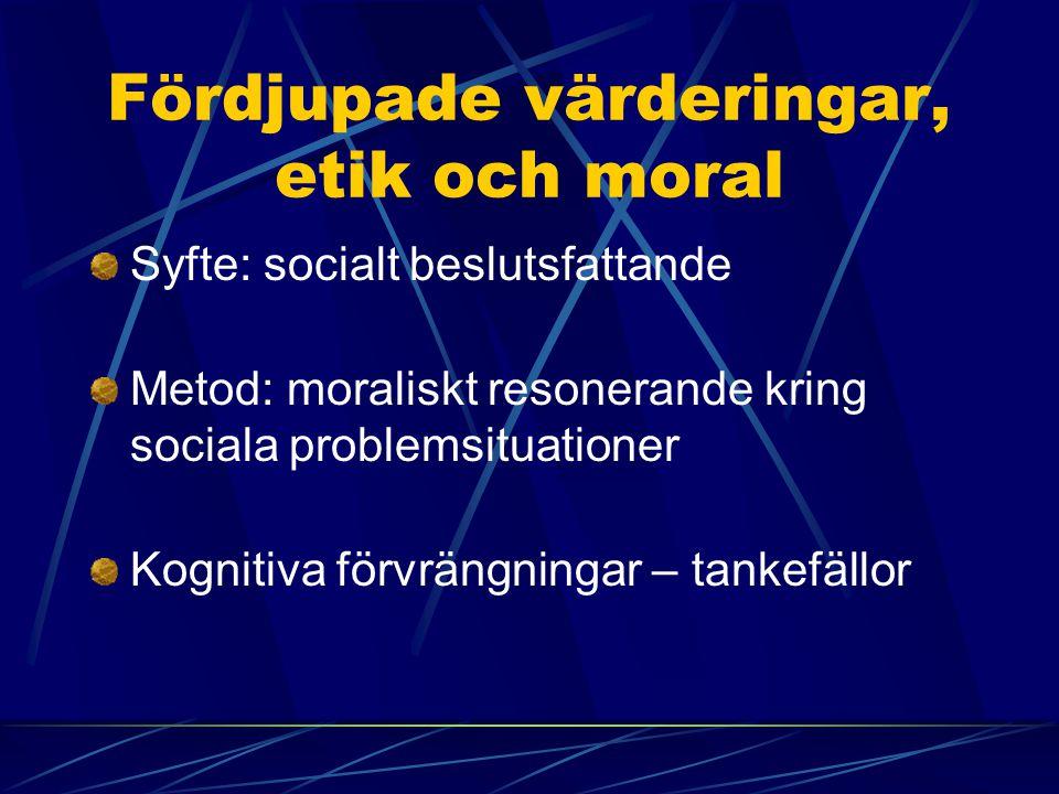 Fördjupade värderingar, etik och moral Syfte: socialt beslutsfattande Metod: moraliskt resonerande kring sociala problemsituationer Kognitiva förvräng