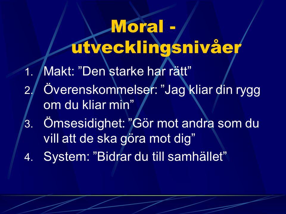 """Moral - utvecklingsnivåer 1. Makt: """"Den starke har rätt"""" 2. Överenskommelser: """"Jag kliar din rygg om du kliar min"""" 3. Ömsesidighet: """"Gör mot andra som"""