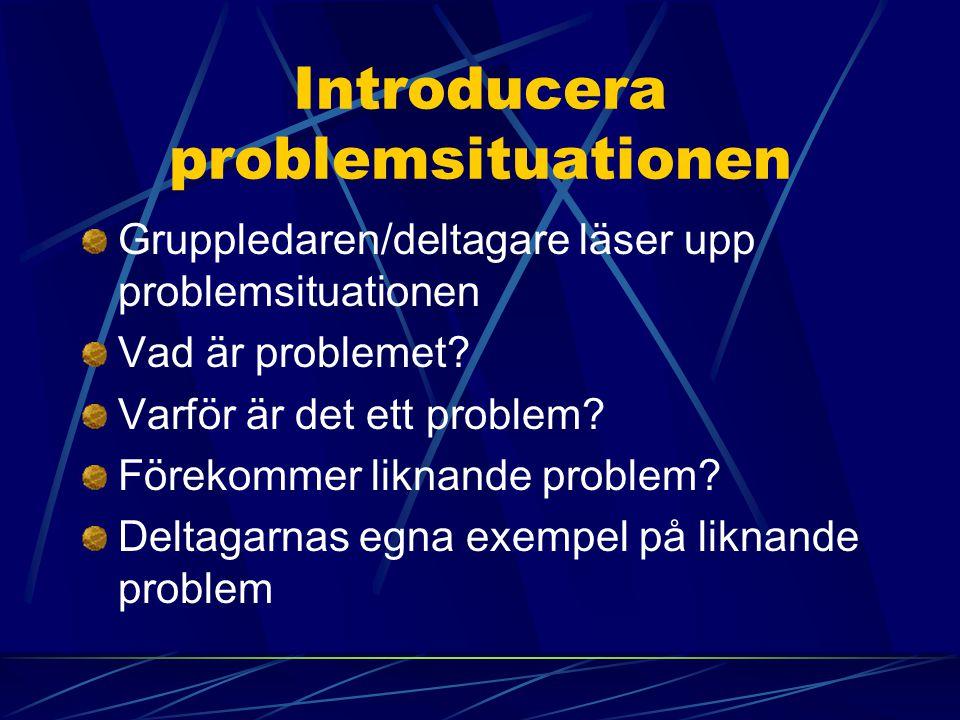 Introducera problemsituationen Gruppledaren/deltagare läser upp problemsituationen Vad är problemet? Varför är det ett problem? Förekommer liknande pr