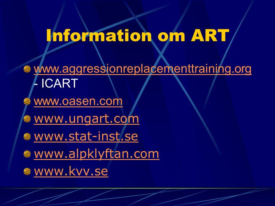 Information om ART www.aggressionreplacementtraining.org www.aggressionreplacementtraining.org - ICART www.oasen.com www.ungart.com www.stat-inst.se w