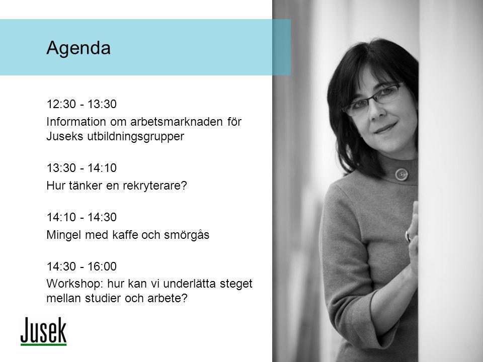 12:30 - 13:30 Information om arbetsmarknaden för Juseks utbildningsgrupper 13:30 - 14:10 Hur tänker en rekryterare? 14:10 - 14:30 Mingel med kaffe och