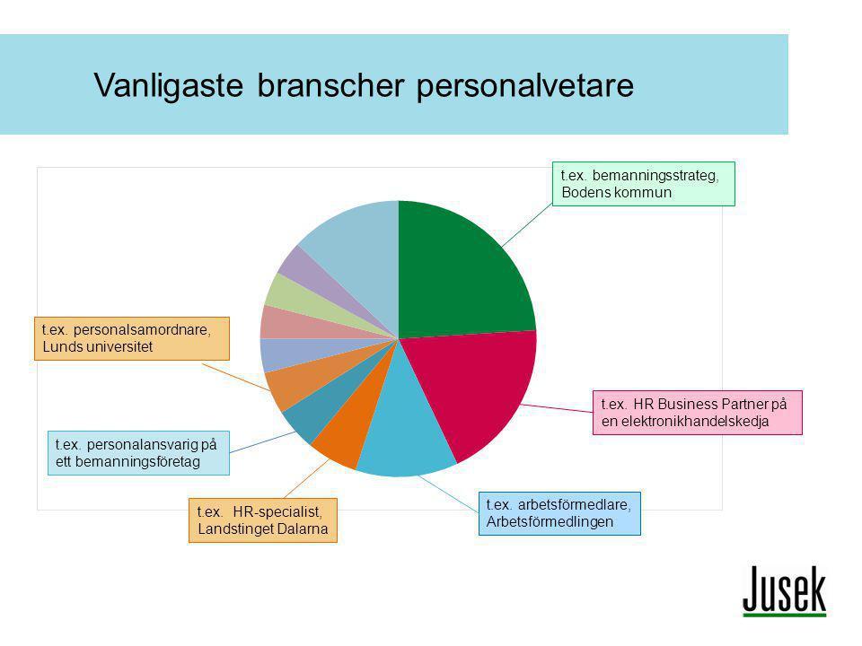 Vanligaste branscher personalvetare t.ex. bemanningsstrateg, Bodens kommun t.ex. HR Business Partner på en elektronikhandelskedja t.ex. personalansvar
