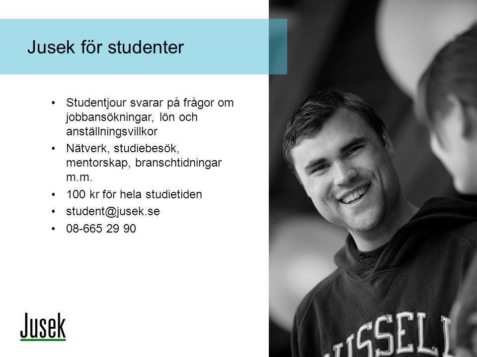 •Studentjour svarar på frågor om jobbansökningar, lön och anställningsvillkor •Nätverk, studiebesök, mentorskap, branschtidningar m.m. •100 kr för hel