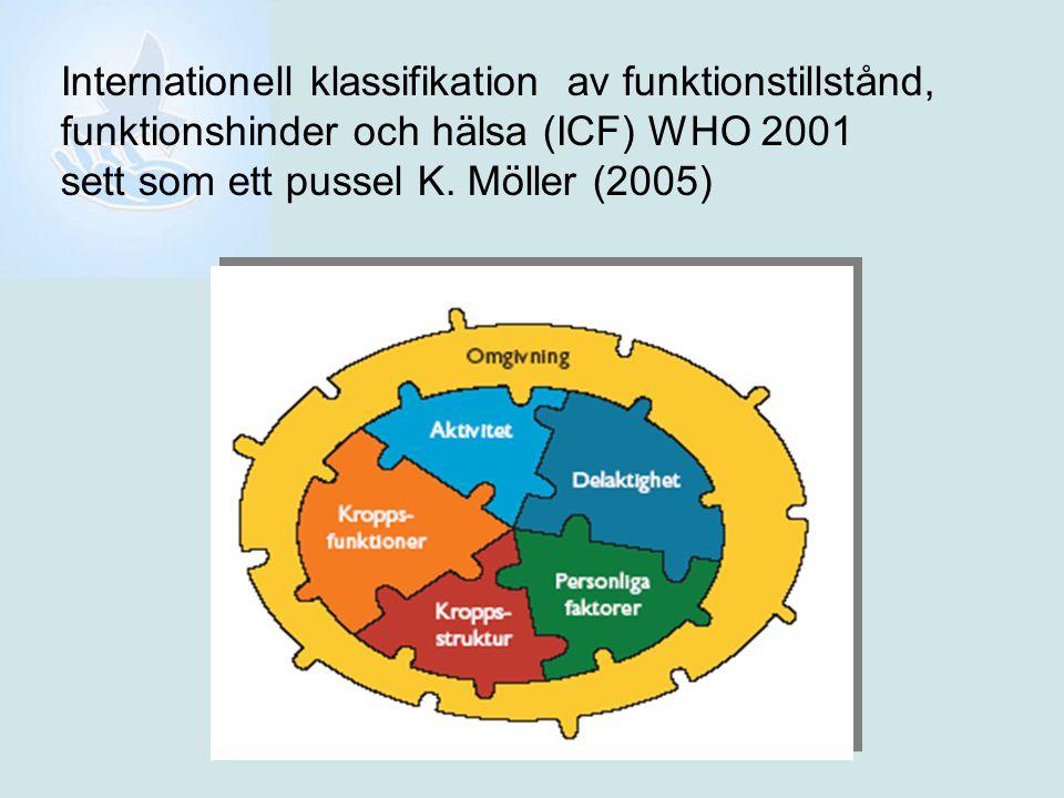 Internationell klassifikation av funktionstillstånd, funktionshinder och hälsa (ICF) WHO 2001 sett som ett pussel K. Möller (2005)