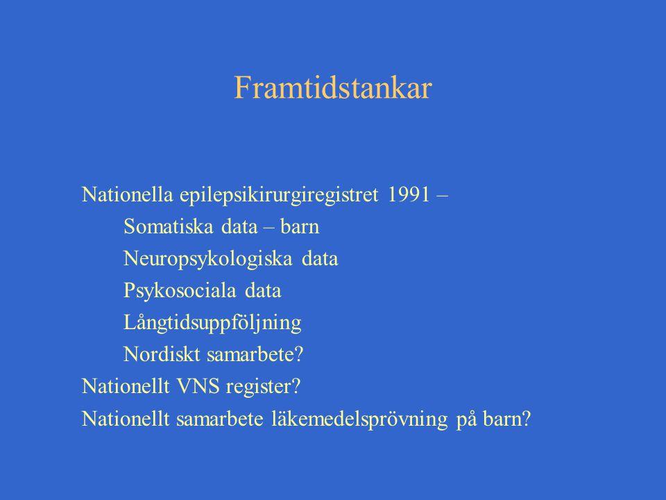 Framtidstankar Nationella epilepsikirurgiregistret 1991 – Somatiska data – barn Neuropsykologiska data Psykosociala data Långtidsuppföljning Nordiskt samarbete.