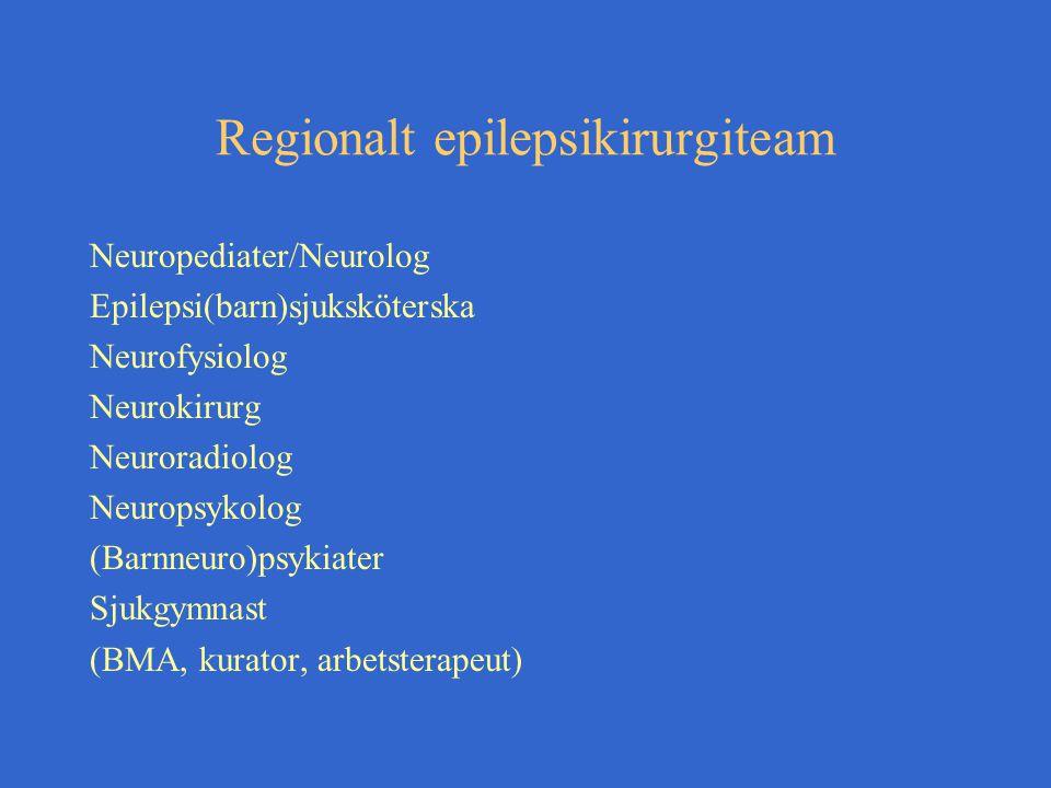 Regionalt epilepsikirurgiteam Neuropediater/Neurolog Epilepsi(barn)sjuksköterska Neurofysiolog Neurokirurg Neuroradiolog Neuropsykolog (Barnneuro)psykiater Sjukgymnast (BMA, kurator, arbetsterapeut)