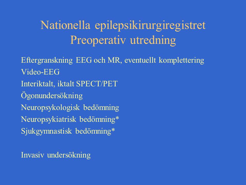 Nationella epilepsikirurgiregistret Preoperativ utredning Eftergranskning EEG och MR, eventuellt komplettering Video-EEG Interiktalt, iktalt SPECT/PET Ögonundersökning Neuropsykologisk bedömning Neuropsykiatrisk bedömning* Sjukgymnastisk bedömning* Invasiv undersökning