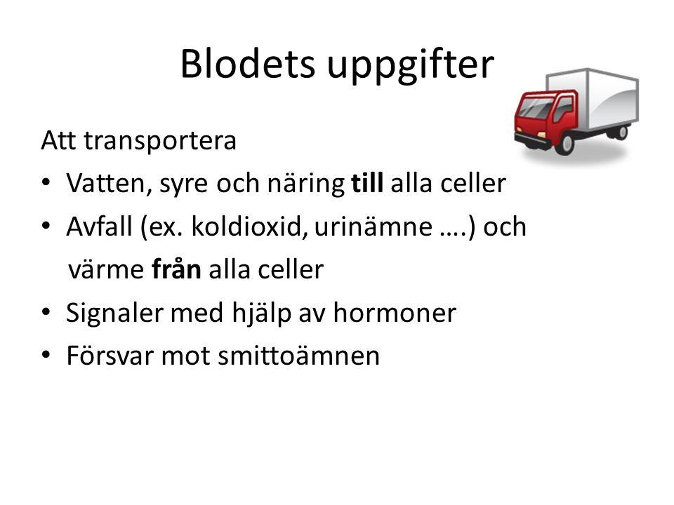 Blodets uppgifter Att transportera • Vatten, syre och näring till alla celler • Avfall (ex. koldioxid, urinämne ….) och värme från alla celler • Signa