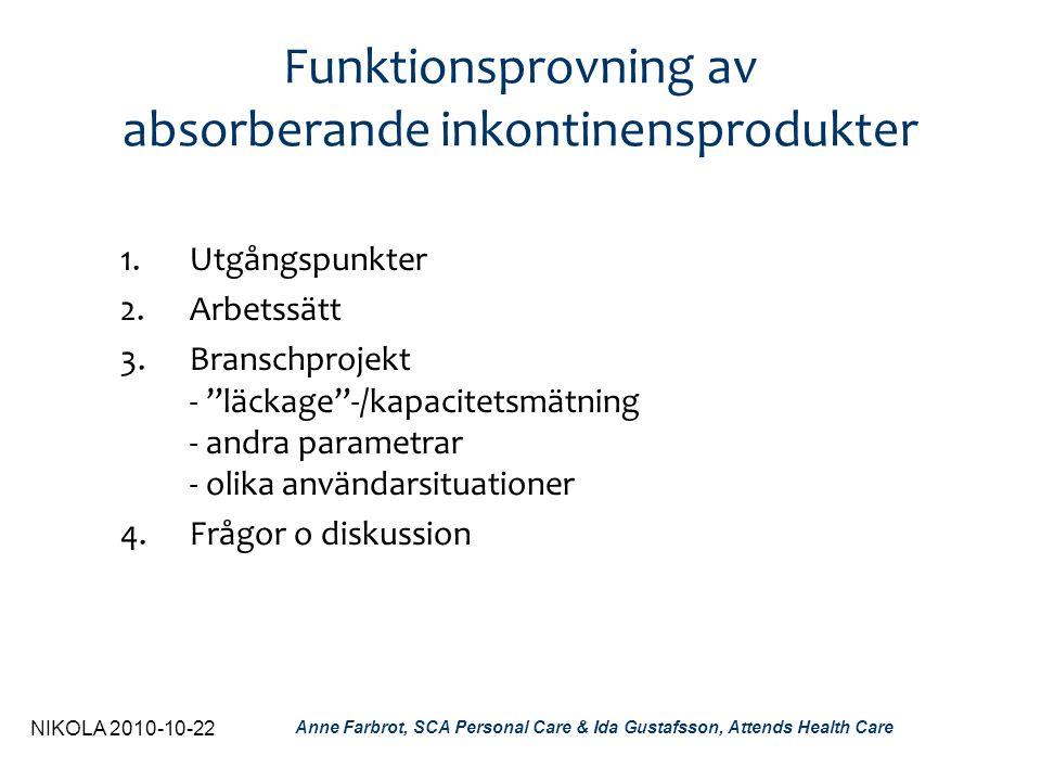 NIKOLA 2010-10-22 Anne Farbrot, SCA Personal Care & Ida Gustafsson, Attends Health Care Utveckling av nya metoder Relevans & förankring: •Användare och situation i fokus •Samarbete - nationellt - internationellt Kvalitet: •Vetenskapligt arbetssätt •Standardisering