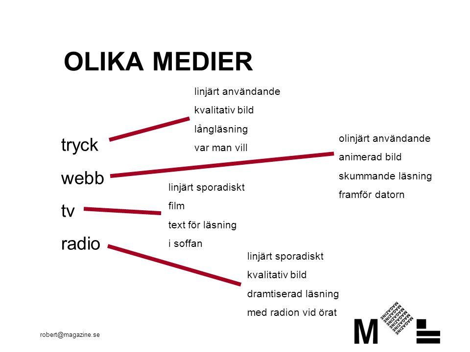 robert@magazine.se OLIKA MEDIER tryck webb tv radio linjärt användande kvalitativ bild långläsning var man vill olinjärt användande animerad bild skummande läsning framför datorn linjärt sporadiskt film text för läsning i soffan linjärt sporadiskt kvalitativ bild dramtiserad läsning med radion vid örat