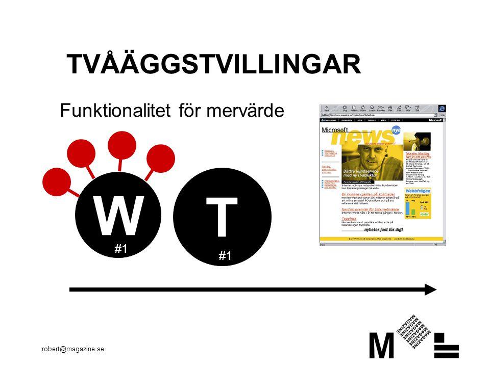 robert@magazine.se TVÅÄGGSTVILLINGAR T W Funktionalitet för mervärde #1