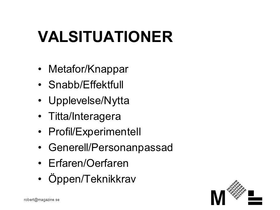 robert@magazine.se VALSITUATIONER •Metafor/Knappar •Snabb/Effektfull •Upplevelse/Nytta •Titta/Interagera •Profil/Experimentell •Generell/Personanpassad •Erfaren/Oerfaren •Öppen/Teknikkrav