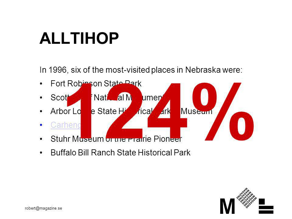 robert@magazine.se ALLTIHOP In 1996, six of the most-visited places in Nebraska were: •Fort Robinson State Park •Scotts Bluff National Monument •Arbor