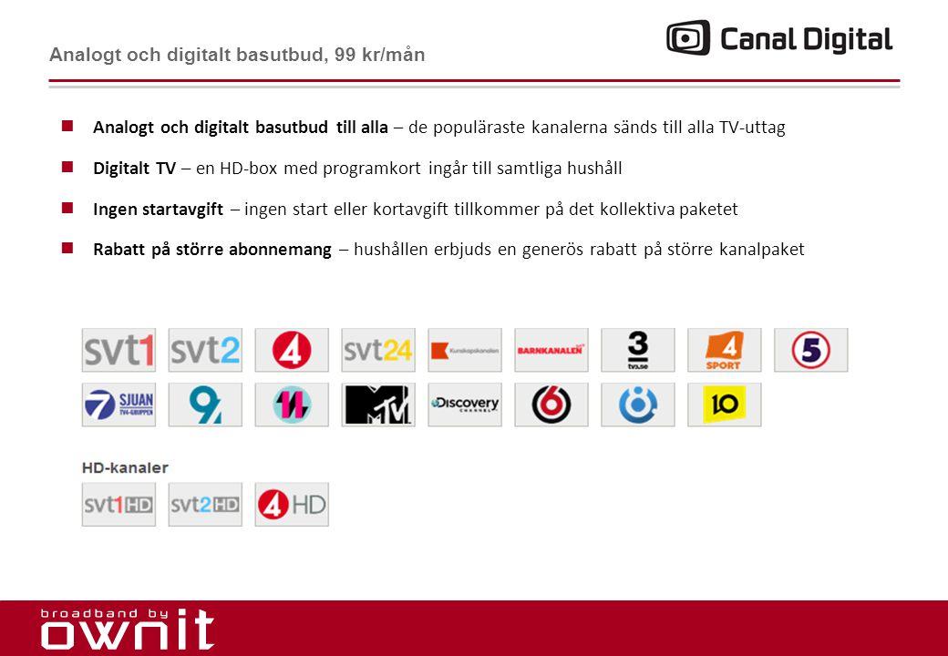 13. Analogt och digitalt basutbud, 99 kr/mån  Analogt och digitalt basutbud till alla – de populäraste kanalerna sänds till alla TV-uttag  Digitalt