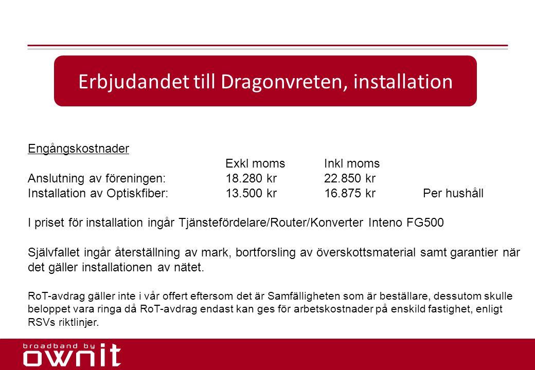 15. Erbjudandet till Dragonvreten, installation Engångskostnader Exkl momsInkl moms Anslutning av föreningen:18.280 kr22.850 kr Installation av Optisk